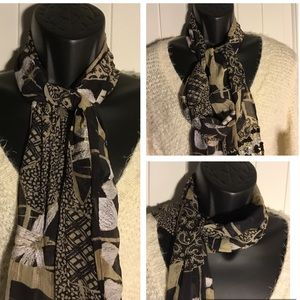 Mixed Media Metallic Embellished Scarf Wrap